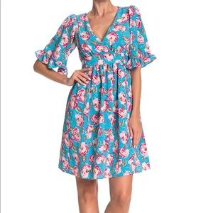 Betsy Johnson Floral Printed Bell Sleeve Dress 18W
